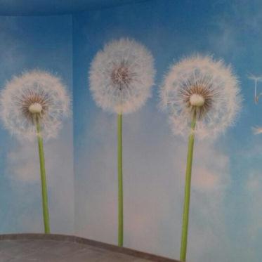 Création papier peints, coin détente entreprise de chateau gontier